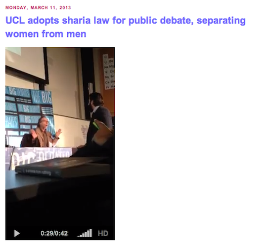 UCL Debate becomes a show of Force to Sharia on Campus